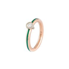 White and yellow gold with green enamel and diamond