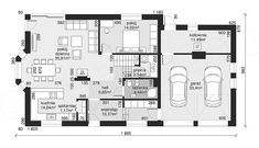 Rzut parteru projektu Dom przy Wiosennej 15 Floor Plans, Floor Plan Drawing, House Floor Plans