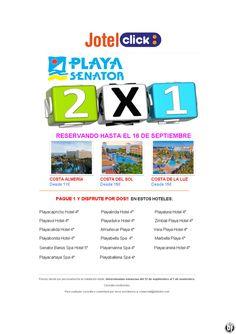 Super 2X1 Playa Senator Jotelclick desde 11 € reservas hasta 16 septiembre ultimo minuto - http://zocotours.com/super-2x1-playa-senator-jotelclick-desde-11-e-reservas-hasta-16-septiembre-ultimo-minuto/