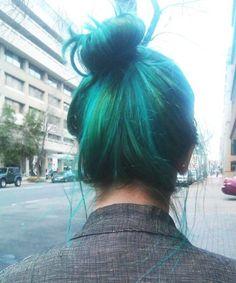 Blue, green, messy bun, hair, love it.