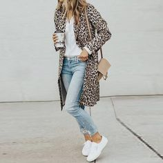 women's brown-and-black leopard spotted coat; white button up shi… women's brown-and-black leopard spotted coat; white button up shirt ; pair of white low top sneakers Spring Outfits, Winter Outfits, Casual Outfits, Dress Winter, Look Fashion, Fashion Outfits, Womens Fashion, Fashion Trends, Sneakers Fashion