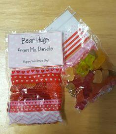 "Valentines from Teacher to Students: Gummy bears (""Bear Hugs"")"