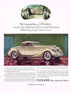 1935 BIG Vintage Packard Twelve 12 Coupe Roadster Car Automobile Art Print Ad