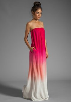 YOUNG, FABULOUS & BROKE Karissa Maxi Dress in Fuchsia Ombre