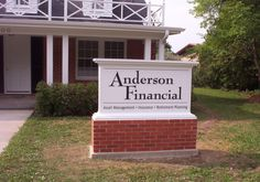 Signage for Anderson Financial: Asset Management, Insurance, Retirement Planning.