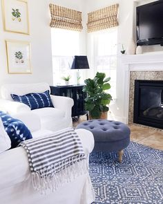 Finding Your Home Style - Blue and white living room with an easy breezy coastal vibe Learn how to discover your decorating style so you can decorate your home with confidence and ease, knowing exactly what will look great and make you happy. Coastal Living Rooms, Living Room Interior, Home Living Room, Living Room Designs, Living Room Furniture, Blue Living Rooms, Fresh Living Room, Cottage Living, Kitchen Living
