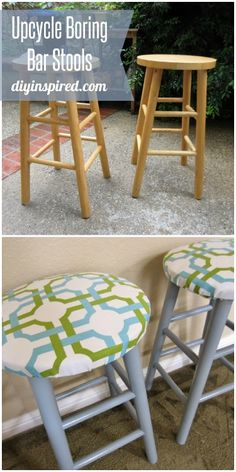 Trash to Treasure: Upcycled Bar Stools - Turn boring wooden bar stools into upholstered beauties!