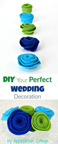 Amazingly cute DIY Wedding Decoration - click through to see how to make felt wedding flowers. You can use them everywhere  wedding tabletop decor, hanging flowers, DIY wedding centerpiece. Easy, quick - save money but have a perfect wedding on a budget!