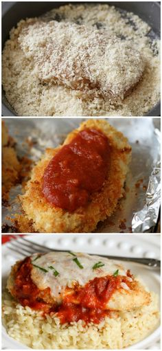 Baked Chicken Parmesan - one of the yummiest and easiest dinner ideas you'll… I Love Food, Good Food, Yummy Food, Easy Baked Chicken, Grilled Chicken, Cooking Recipes, Healthy Recipes, Pasta Recipes, Delicious Recipes