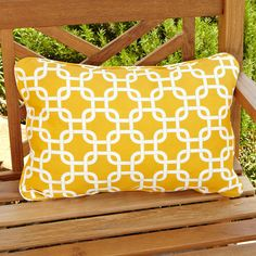 Penelope Yellow Indoor/ Outdoor Pillows (Set of (Gotcha Yellow), Humble and Haute (Polyester, Geometric) Outdoor Cushions And Pillows, Patio Furniture Cushions, Sectional Furniture, Outdoor Pillow, Outdoor Fabric, Backyard Creations, Outdoor Living Furniture, Home Decor Outlet, Nautical Theme