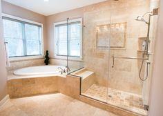 Master Bathroom #bathroom #bath #tub #shower #tile #interior #customhomes #rockwellcustom