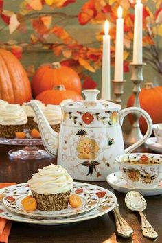 Autumn Tea Party ~ serve tea with carrot or pumpkin cupcakes in pretty, Autumn coloured china ~ keep your table decorations simple and one colour ~ #orange ~ pumpkins, leaves and warm candlelight. www.thepicnicpatch.co.uk
