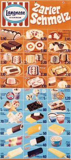 Langnese Ice Lollys Eiskarte 1972 Popsicle