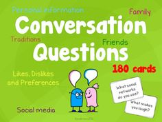 ProductDescriptionThis is a set of 180 conversation questions for teenage ESL students. These question cards make it easier to initiate a conversation and find something to talk about. This is a great activity to get your students talk in class. Here are a few ways to use these conversation questio... Conversation Questions, Conversation Cards, Questions For Friends, This Or That Questions, Social Networks, Social Media, Teaching Materials, Esl, Card Making