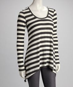 Take a look at this Charcoal & Cream Maritza Top by Saint Grace on #zulily today!