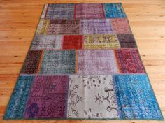 """Multi Colors Overdyed Turkish Patchwork Carpet 5' x 6'6"""" Bright Colors Vintage Turkish Decorative Rugs Floral Home Decor Handmade Wool Rugs"""