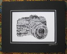 SALE Word Art Camera Art Print Photography Art by CalligramORama