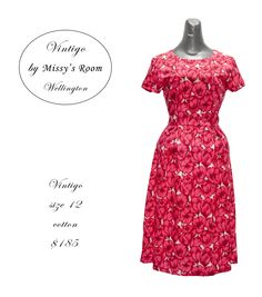 New dress, made by us in Wellington, from medium weight new cotton. Sorry, this Dress has SOLD. Size 14 still available
