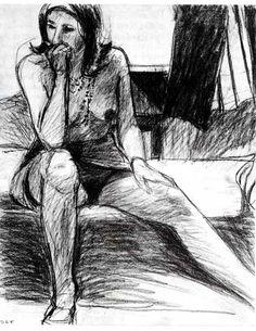 Richard Diebenkorn - Untitled. Seminude woman, chin on her fist