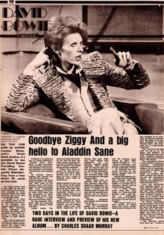 """bowiesongs: """" """" glamidols: """" Goodbye Ziggy And a big hello to Aladdin Sane David Bowie interview by Charles Shaar Murray Published in New Musical Express – January 1973 """" Meet the new. David Bowie Starman, David Bowie Ziggy, Rock N Roll, David Bowie Interview, Aladdin Sane, The Thin White Duke, Pretty Star, Major Tom, Ziggy Stardust"""