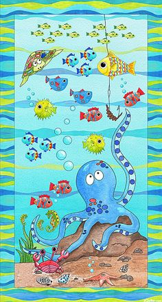 "Under the Sea - Octopus & Friends - Aqua - 24"" x 44"" PANEL"