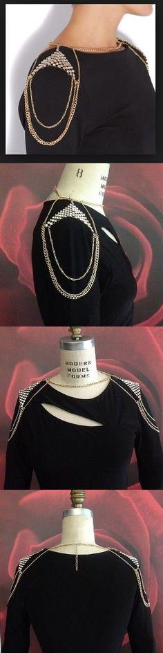 Body Chains 98526: Gold Shoulder Body Jewelry Chain W Rhinestones -> BUY IT NOW ONLY: $40 on eBay!