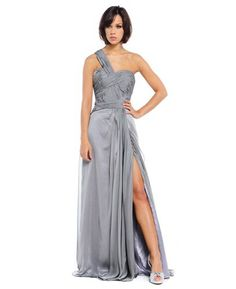 Slinky iridescent chiffon full length gown by Ruby Prom
