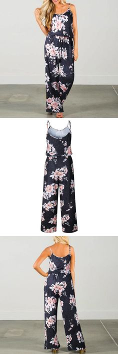 9754bda02165 Boho women vintage floral printing jumpsuits spaghetti strap sleeveless  long playsuits lace up female rompers jumpsuit