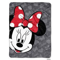 "Disney Minnie Mouse Bow Love Micro Raschel Throw, 46 by 60"""