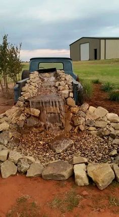 Old truck turned into an outdoor pond