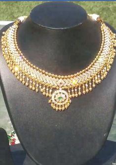 Diamond Necklace Set, Bold Necklace, Diamond Jewellery, Simple Necklace, Antique Necklace, Antique Jewellery, India Jewelry, Temple Jewellery, Jewelery
