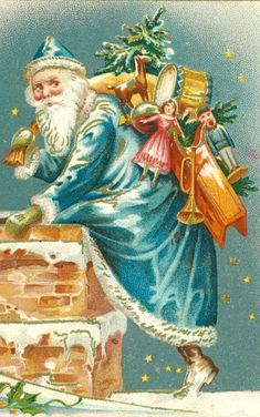 *Cool Vintage Santa in Blue! Images Vintage, Vintage Christmas Images, Victorian Christmas, Vintage Holiday, Christmas Pictures, Blue Christmas, Christmas Past, Father Christmas, Christmas Greetings