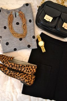 Boden sweater, H&M Necklace and skirt, M&S bag, Michael Kors watch, Clarks loafers