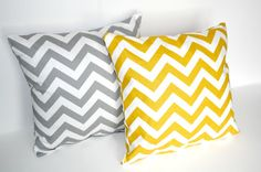 Yellow and Gray Chevron Pillow Covers by ThePillowFight @etsy - This shop has lots of pillow cover designs.