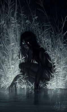 Silueta nocturna de una niña