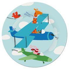 Assiette enfant Arty Frog - En avion : 5,90€ #assiette #assietteenfant #artyfrog #girafe #oiseau #avion http://www.cmachambre.fr