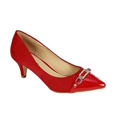 Coshare Womens Fashion Patent Embellished Front Low Heel Pumps Red 85 M US >>> You can find more details by visiting the image link. (This is an affiliate link) Low Heels, Pumps Heels, Kitten Heels, Image Link, Bow, Women's Fashion, Metal, Unique, Shoes