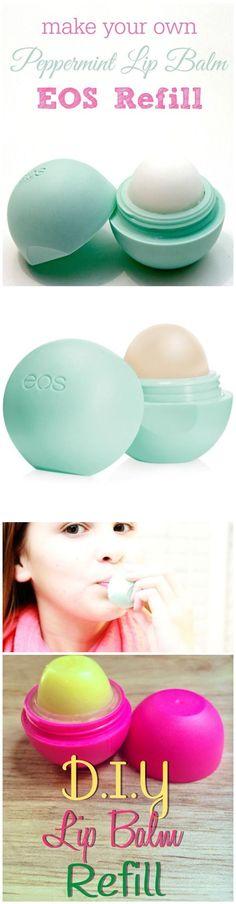 Make DIY Homemade Peppermint Lip Balm EOS Refill