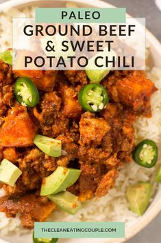 Healthy Ground Beef and Sweet Potato Chili is a tasty, easy dinner. Paleo, Whole30 and gluten free this is truly the best beef chili recipe! Made in the crockpot, instant pot or on the stove. Healthy Gluten Free Recipes, Whole30 Recipes, Lunch Recipes, Healthy Dinner Recipes, Easy Whole 30 Recipes, Easy Clean Eating Recipes, Clean Eating Diet, Healthy Meal Prep, Easy Healthy Dinners