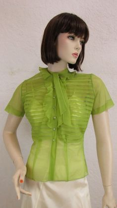 46d1a2f028c 1940 s Chartreuse Blouse   Sheer Nylon   Size  32
