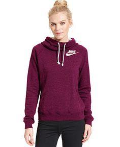 Nike Rally Funnel-Neck Sweatshirt Hoodie - Active Jackets Hoodies - Women - Macy's