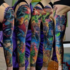 superhero sleeve by el-mori on DeviantArt - Top 500 Best Tattoo Ideas And Designs For Men and Women Marvel Tattoo Sleeve, Chicano Tattoos Sleeve, Dc Tattoo, Disney Sleeve Tattoos, Marvel Tattoos, Batman Tattoo, Arm Sleeve Tattoos, Anime Tattoos, Sleeve Tattoos For Women