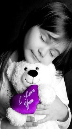 cute girl with i love you teddy bear