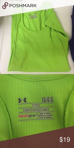 Fitted under Armor tank Lime green like new condition Under Armour Tops Tank Tops