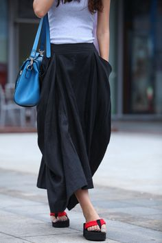 Maxi Skirt Big Pockets Lagenlook Long Skirt in Black Summer Linen Skirt - Custom made - NC331. $59.99, via Etsy.