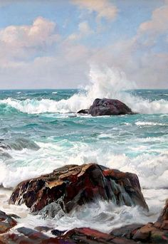Por amor al arte: Charles Vickery Seascape Paintings, Landscape Paintings, Watercolor Paintings, Original Paintings, Ocean Scenes, Beach Scenes, Ocean Art, Ocean Waves, Beach Art