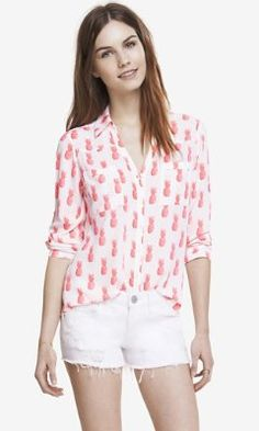 NEON PINEAPPLE CONVERTIBLE SLEEVE PORTOFINO SHIRT from EXPRESS