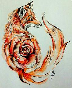 Watercolor Fox W/ Rose - Wolf Tattoo Forearm, Deer Tattoo, Raven Tattoo, Tattoo Ink, Arm Tattoo, Body Art Tattoos, Cool Tattoos, Tree Tattoos, Hand Tattoos