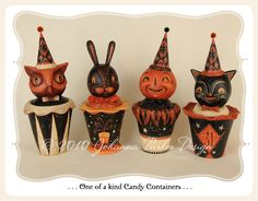 Collection of one of a kind Halloween candy containers by folk artist Johanna Parker