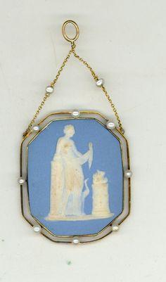 Antique 14k Yellow Gold Pearls Jasperware Wedgewood Pendant of Woman w Crane